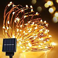 מחרוזת אנרגיה סולארית מנורת חוט עמידה למים הובילה אור הרצועה 10m 100led נחושת לבן חם עבור אורות חג מולד קישוט חיצוניים