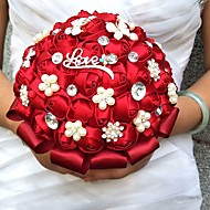 Wedding Flowers Round Roses Bouquets Wedding Party/ Evening Satin Silk Bead Rhinestone