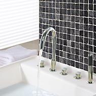 עכשווי מקלחת ואמבטיה שפורפרת יד כלולה with  שסתום קרמי שלוש ידיות חמישה חורים for  כרום , ברז לאמבטיה