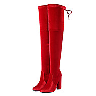 Women's Boots Winter Other Velvet Dress Casual Party & Evening Chunky Heel Zipper Lace-up Black Red