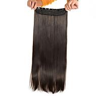 עוד 5 קליפים חום בהיר ישר (# 6) קליפ שיער סינטטי בתוספות שיער לנשים