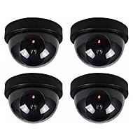 4ks / pack krytý venkovní CCTV falešný figurína dome bezpečnostní kamery s flahsing červená LED světla