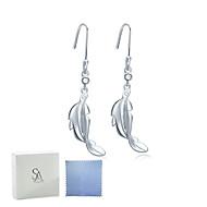 SILVERAGE Sterling Silver Feather Drop Dangle Earrings