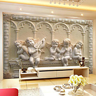 Retro Shinny Leather Effect Large Mural Wallpaper Little Angel Relief Art Wall Decor Background Wall Paper