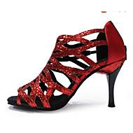 Chaussures de danse(Noir Violet Rouge Or) -Personnalisables-Talon Aiguille-Paillette-Latine Jazz Salsa Chaussures de Swing
