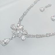 סט תכשיטים זירקון זירקוניה מעוקבת Cross Shape Animal Shape פרפר כסף שרשראות עגילים ל חתונה Party 1set מתנות חתונה