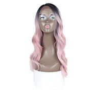 Szintetikus csipke mély láthatatlan l része paróka fekete gyökér rózsaszín színű természetes hullám ombre haj