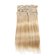7 יח / להגדיר קליפ בצבע פסנתר תוספות שיער המעורב 14inch בלונדינית אקונומיקה בזה שיער אדם 18inch 100% לנשים