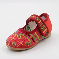 לבנות-שטוחות-משי-נעלי בובה (מרי ג'יין)-אדום-קז'ואל-עקב שטוח