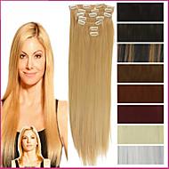 """22 """"/ 55 סנטימטר 120-130g 7pcs / קליפ נוכריות סינטטי עמיד בחום שנקבע בהארכת שיער ארוכה וישרה"""