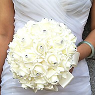 Wedding Flowers Round Roses Bouquets Wedding Party/ Evening Satin Foam Rhinestone