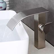 Çağdaş Art Deco/Retro Modern Tek Gövdeli Şelale with  Seramik Vana Tek Kolu Bir Delik for  Fırçalanmış Nikel , Banyo Lavabo Bataryası