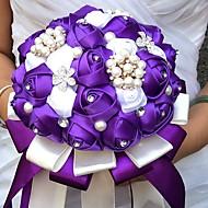 Bouquets de Noiva Redondo Rosas Buquês Casamento Festa / noite Cetim Seda Enfeite Strass