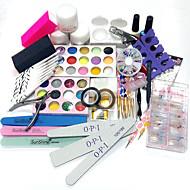 30sets nova ferramenta conjunto de manicure 30 cor artigo padrões carve terno 100pcs cristal unhas OPI