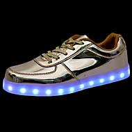 Masculino-Tênis-Conforto Light Up Shoes-Rasteiro-Prateado Dourado-Couro Ecológico-Casual