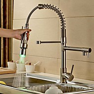 Contemporary Pull-out/­Pull-down Centerset Pullout Spray with  Ceramic Valve Single Handle One Hole for  Nickel Brushed , Kitchen faucet