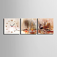 MINI SIZE E-HOME Riverside Fall Scenery Clock in Canvas 3pcs