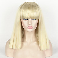 caschetto corto crespo frangia piena diritte delle donne parrucca moda per capelli sintetici 14 parrucca cosplay bionda