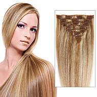klip v lidských prodlužování vlasů 7/8 kus 100% skutečné přímé full head vícevrstvé barvy pro ženy