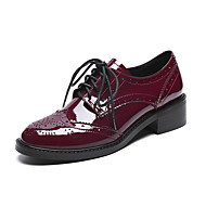 Women's Oxfords Spring Summer Fall Winter Platform Other Cowhide Microfibre Casual Chunky Heel Platform Lace-up Black Burgundy Other