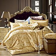 bedtoppings 4stk satt dronningen en dyne dyne dynetrekk / en flat ark / 2 putevar jacquard mønster bomull rik blanding poly