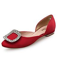 נשים-שטוחות-משי עור-אחר נוחות-שחור אדום Almond-חתונה שמלה יומיומי-עקב שטוח