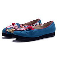 Women's Flats Spring Summer Fall Comfort Twill Outdoor Casual Athletic Flat Heel Satin Flower Flower Black Blue Orange Walking