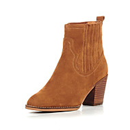 Three Seasons® Women's Boots Fall Winter Comfort Cowhide Office & Career Casual Chunky Heel Camel