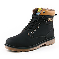 Men's Boots Fall Winter Comfort PU Casual Flat Heel Lace-up Black Brown Yellow Walking