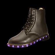 Herre-PU-Flat hæl-Komfort-Støvler-Fritid-Svart / Sølv