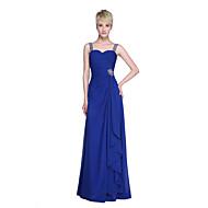 2017 Lanting Bride® Floor-length Chiffon Elegant Bridesmaid Dress - Sheath / Column Straps with Beading Ruffles Criss Cross Ruching