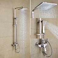 ארט דקו / רטרו מערכת למקלחת מקלחת גשם with  שסתום קרמי שתי ידיות שלושה חורים for  ניקל מוברש , ברז למקלחת
