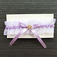 Garter Stretch Satin Rhinestone Purple