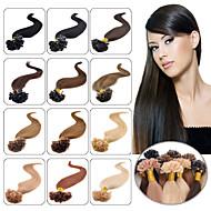 természetes haj u-tip fúziós emberi haj kiterjesztések 100s perui pre-kötésű u-tip póthaj egyenes 0,5 g / szál