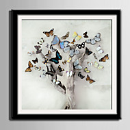 Άνθινο/Βοτανικό Animal Καμβάς σε Κορνίζα Σετ σε Κορνίζα Wall Art,PVC Υλικό Μαύρο Χωρίς Χάρτινο Φόντο με Πλαίσιο For Αρχική Διακόσμηση