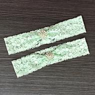 בִּירִית סאטן נמתח תחרה תחרה אבן נוצצת ירוק
