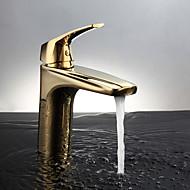 Zeitgenössisch deckenmontiert Thermostatische with  Keramisches Ventil Einhand Ein Loch for  Ti-PVD , Waschbecken Wasserhahn