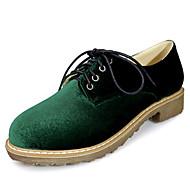 נשים-נעלי אוקספורד-דמוי עור-נוחות רצועת קרסול-שחור בורגונדי ירוק כהה-שמלה יומיומי מסיבה וערב-עקב נמוך