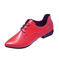 Dame Oxfords Komfort PU Vår Sommer Avslappet Formell Gange Komfort Lav hæl Svart Militærgrønn Rød Under 2,5 cm