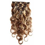Remy saç vücut dalga tam bir baş karışımı renkli 7a% 100 bakire insan saç uzatma klibi