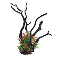 קישוט אקווריום צמחים מלאכותי שרף Red ירוק
