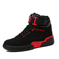 Women's Athletic Shoes Spring Fall Comfort PU Outdoor Athletic Flat Heel Buckle Lace-up Black Red White Basketball