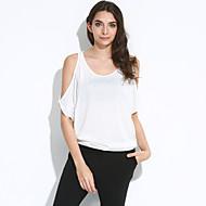 Casual/hétköznapi Szexi / Utcai sikk Aszimmetrikus-Női Póló,Egyszínű Nyári Rövid ujjú Rózsaszín / Fehér Pamut Vékony