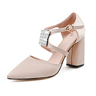 Women's Heels Spring Summer Fall Other Silk Office & Career Party & Evening Casual Chunky Heel Crystal Black Blue Red Almond