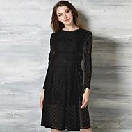 Women's Going out Vintage Sheath Dress,Print Round Neck Above Knee Sleeveless Black Polyester Summer Mid Rise Inelastic Medium