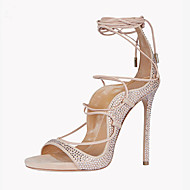 Women's Sandals Summer Ankle Strap Fleece Office & Career Casual Party & Evening Dress Stiletto Heel Sparkling Glitter Lace-up Light Pink