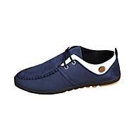 Herre-PU-Flat hæl-Komfort-Treningssko-Fritid-Svart Blå Brun