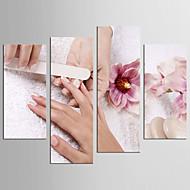 canvas Set Människor Fritid Moderna Realism,Fyra paneler Kanvas Alla Form Print Art väggdekor For Hem-dekoration