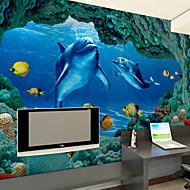 Bloemen Art Deco 3D Behang voor thuis Modern Behangen , Canvas Materiaal lijm nodig Muurschildering , Kamer wandbekleding
