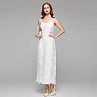 2017 Lanting Bride® Sheath / Column Wedding Dress Simply Sublime Tea-length Spaghetti Straps Lace